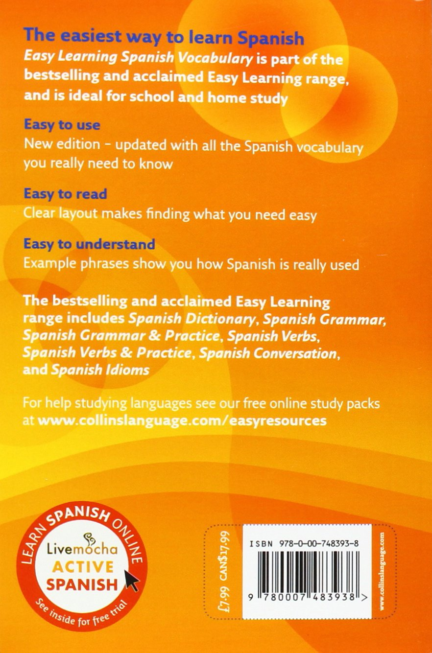 easy learning spanish vocabulary collins easy learning spanish