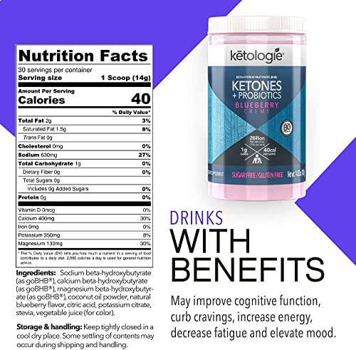 Ketologie BHB Exogenous Ketones Powder with Probiotics Blueberry Creme