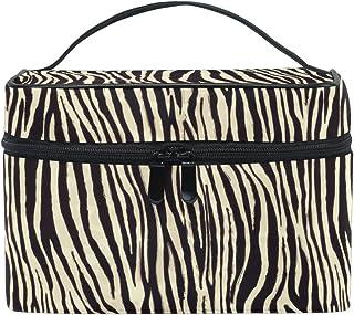 Sac de maquillage, Zebra Motif imprimé Cosmétique de stockage de toilette Organiseur Coque Grande Poignée de voyage étui personnalisé avec compartiments pour adolescents Filles/femmes Lady