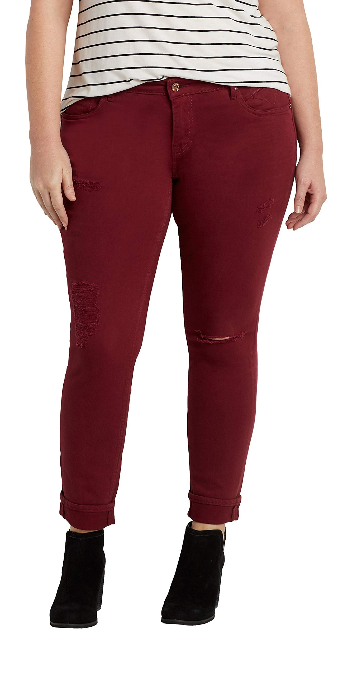 447d59139f7 maurices Women s Vigoss Plus Size Skinny Jeans with Destruction in Red 24  Red