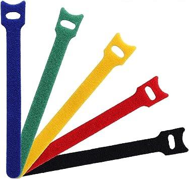 Elantek - 50 corbatas reutilizables con gancho y lazo, correas ...
