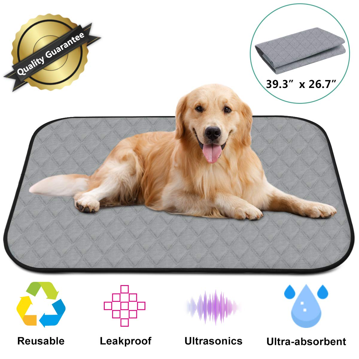 Dog Training Pads 1pcs Washable Pee Pads for Dogs 39.3 x 26.7 4 Layers Design with Anti-Skid Bottom Wee Wee Pads Training Reusable Kennel Mat