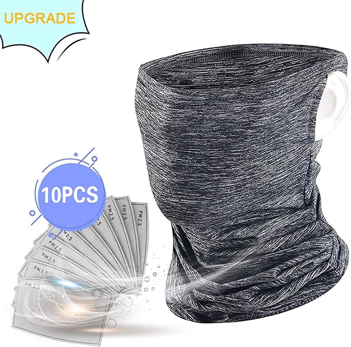 Neck Gaiter Bandanas with Ear Loops Design, Ice Silk Cooling Sports Scarf Balaclava for Dust Outdoor with 10pcs Filters