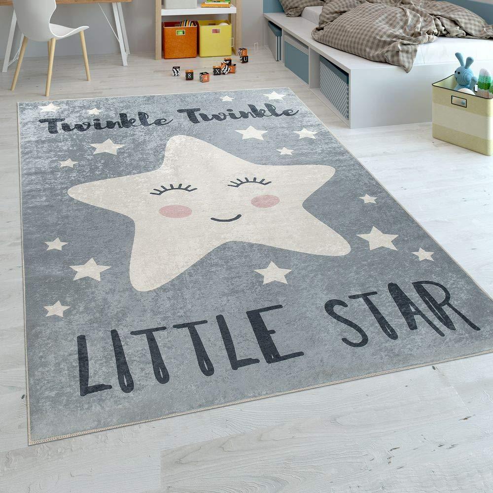 Paco Home Kinderteppich Kinderzimmer Modern Waschbar Niedlicher Stern Spruch Grau Weiss, Grösse:180x280 cm