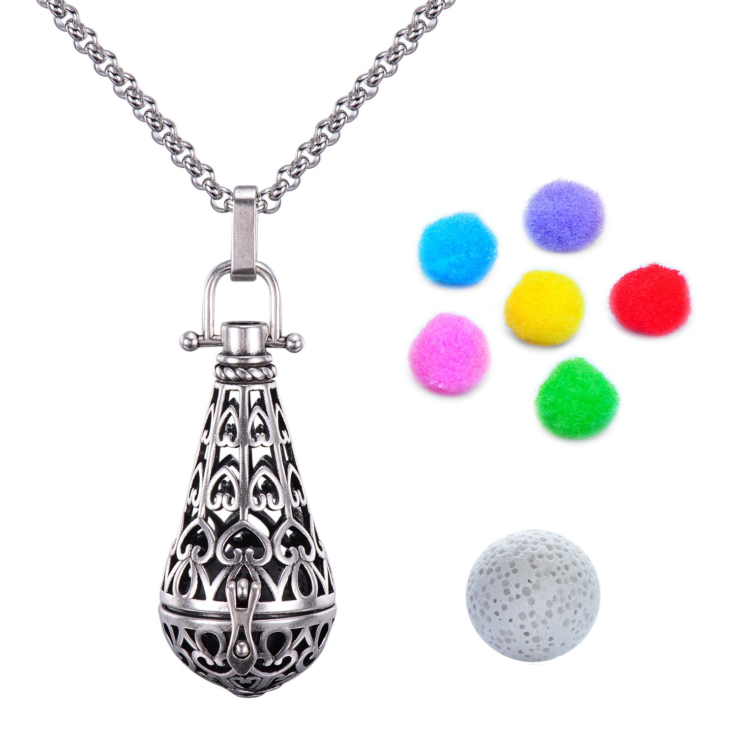 Candyfancy Antique Silver-Tone Locket Pendant Aromatherapy Essential Oil Diffuser Necklace 30'' Stainless Steel Chain (Teardrop Locket Pendant)