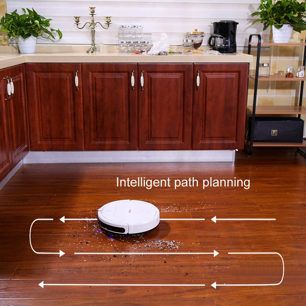Glumes Smart Robotic Vacuum, Pet Hair Care, Powerful Suction Tangle-free, Super Quiet, Slim Design, Auto Charge, Daily Planning, Good For Hard Floor and Low Pile Carpet Ideal Gift BF Sales (Ship from US!) (white) by Glumes (Image #5)
