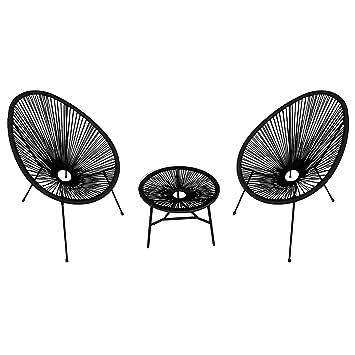 Happy Garden Ensemble de 2 fauteuils Oeuf + Table Acapulco Noir ...