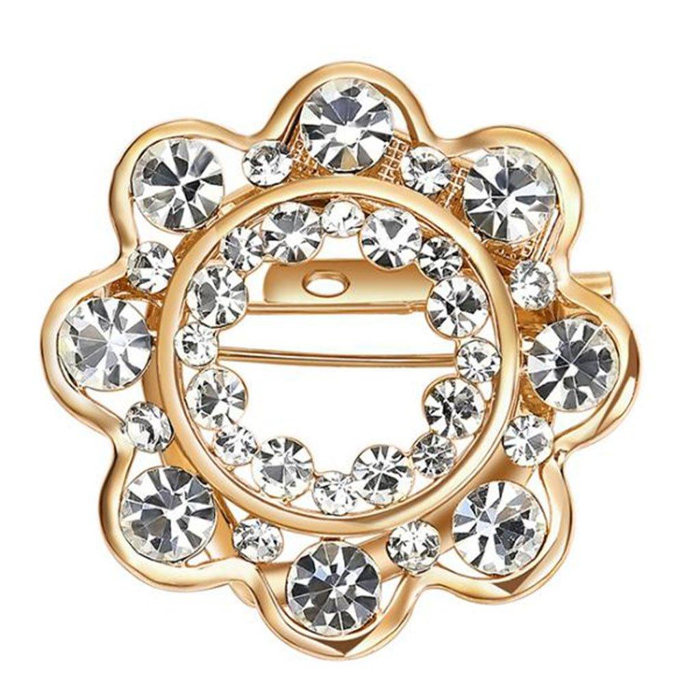 Hosaire moda elegante diamante Albero di Natale Matrimonio Matrimonio Spilla Pin Rhinestone coltelli sciarpe stola clip per gioielli di Las Ladies de las mujeres, Girasole Oro