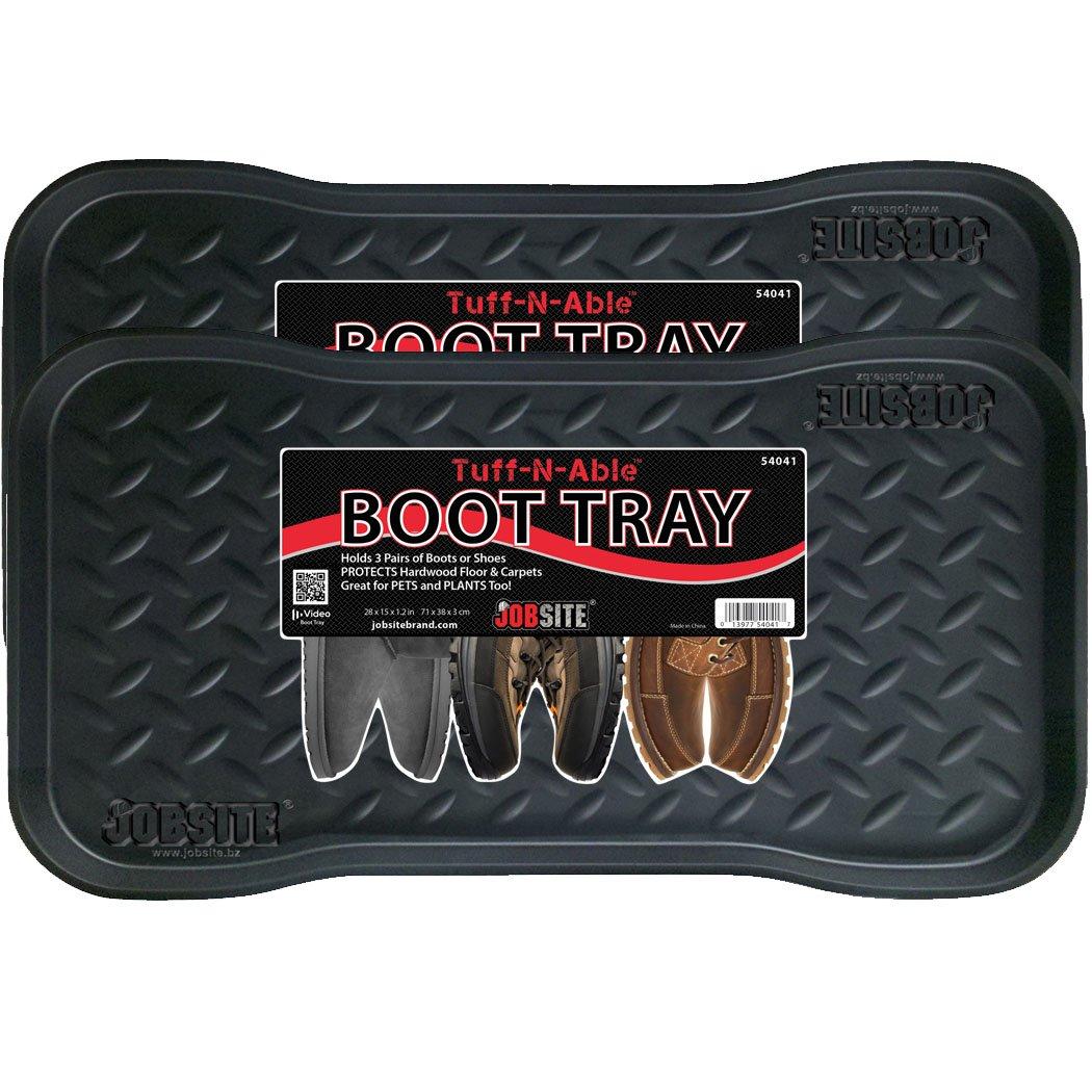 JobSite Heavy Duty Boot Tray, Multi-Purpose for Shoes, Pets, Garden - Mudroom, Entryway, Garage - Indoor or Outdoor - 15 x 28 Inch - 2 Trays