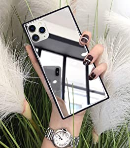 Square for iPhone 12/12 Pro Mirror Case, YTanazing Luxury Glass Glossy Mirror Shockproof Smooth Hard Case with Soft Silicone Bumper TPU Frame Compatible with iPhone 12/12 Pro 6.1 inch