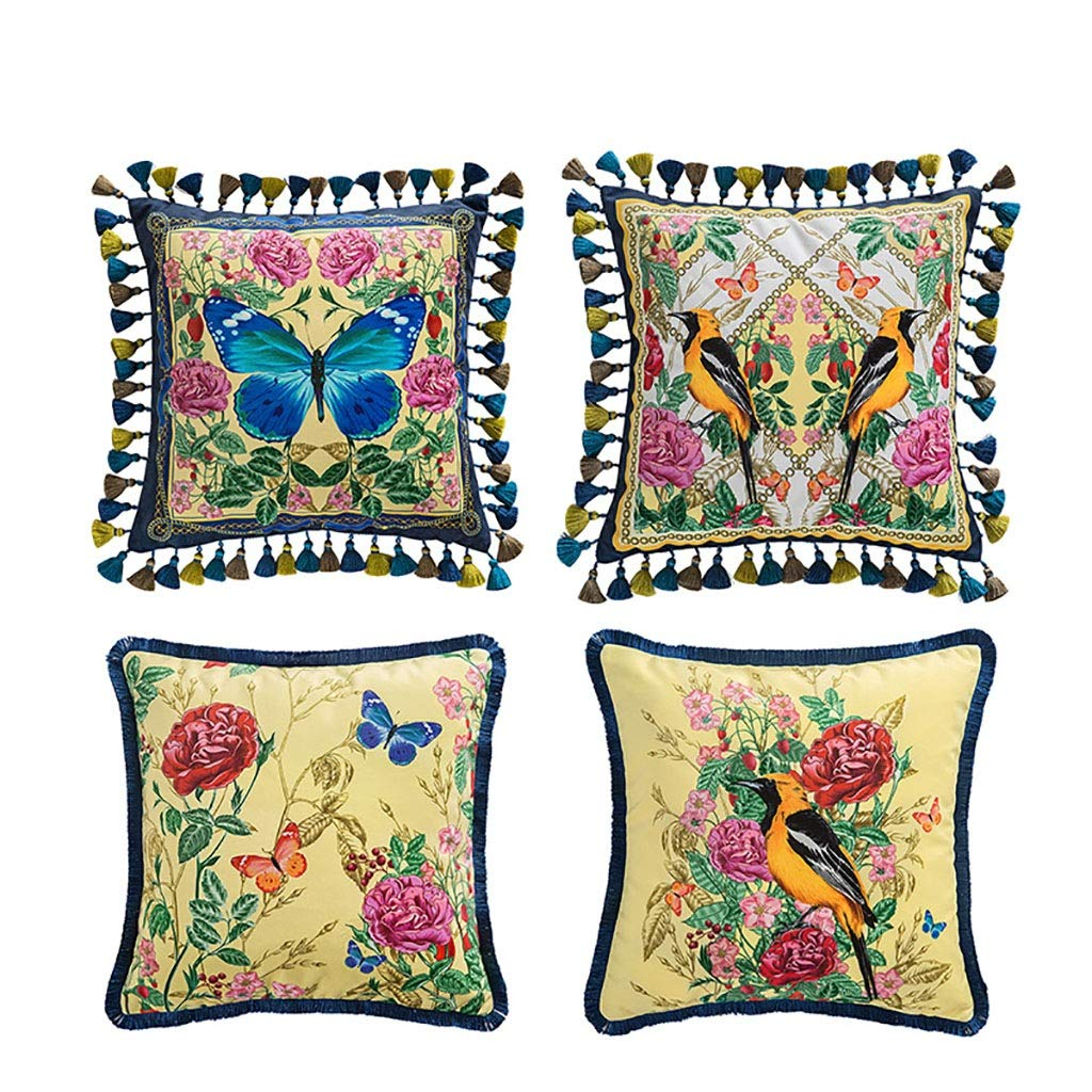 Lifangzhijia Nordic Pillow Fringe Pillow English Flower and Bird Pillow Light Luxury Retro Jungle Sofa Pillow Back Cushion (Color : (5) Four) by Lifangzhijia