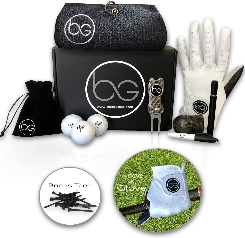 Juego de regalo de golf de primera calidad para hombres y mujeres, 9 accesorios de golf incluidos en esta cesta de regalo de golfistas – Regalos de golf para cada ocasión