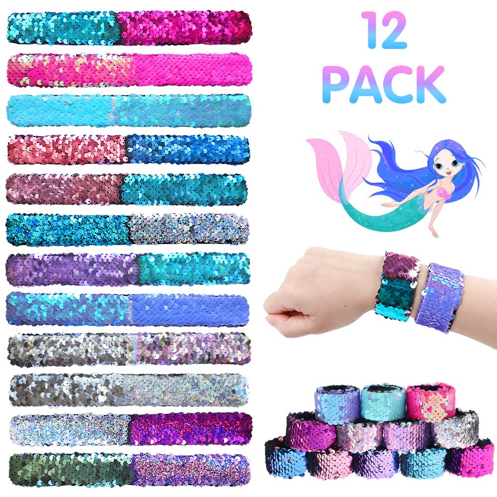 RUBFAC 12 Pack Mermaid Slap Bracelets 2 Colors Reversible Glitter Magic Sequins Flip Bracelets for Party, Birthday Gifts, Mermaid Party Supplies by RUBFAC