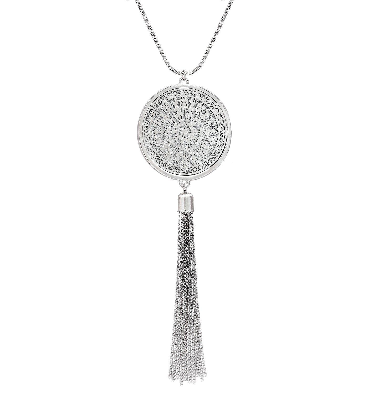 Long Necklaces for Womanディスク円ペンダントネックレスタッセルフリンジネックレスセット文ペンダント シルバー B07BCBV5TH シルバー シルバー