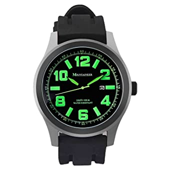 Mountaineer Mens Black Sport Watch Waterproof Quartz Movement Oversized Large Face Big Dial Green Numerals Date