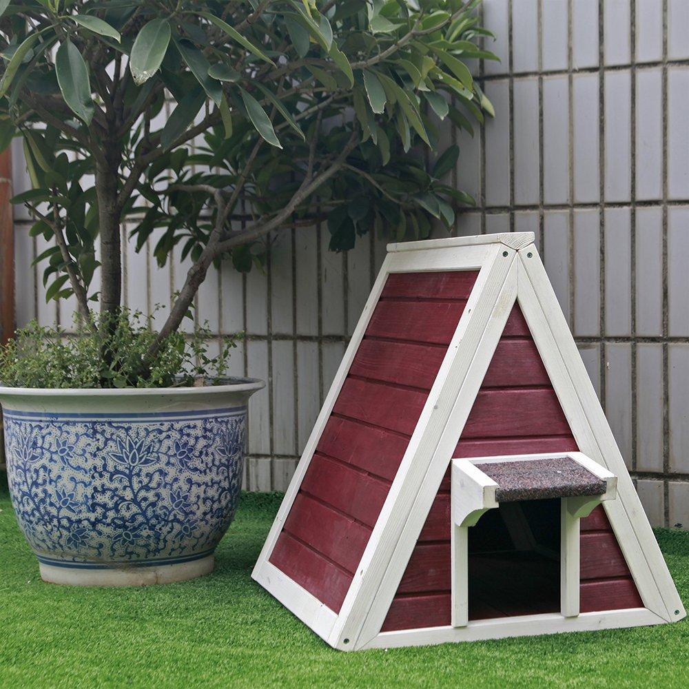 Petsfit Maison Triangulaire en Bois pour Chat avec Porte de Sortie 50cm x 50cm x 53cm Auvent contre la Pluie Gris pour Chat et Petits Animaux Porte dEntr/ée