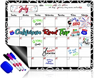 Dry Erase Calendar Magnetic Whiteboard for Refrigerator: 3 Fine Tip Dry Erase Markers and Eraser: Magnetic for Refrigerator: Back To School Organizer: Magnetic Calendar for Office