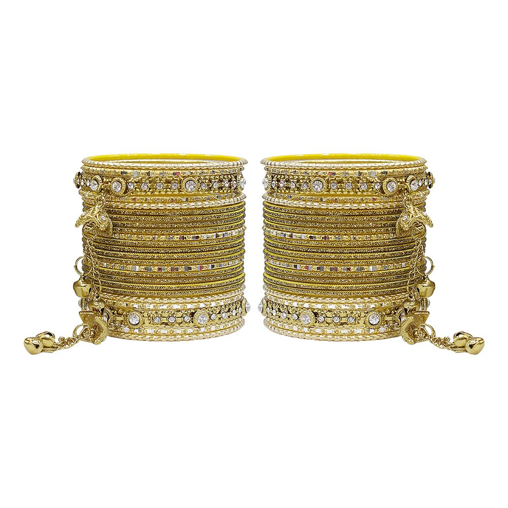 MUCH-MORE Gorgeous Collection Fashion Made of Latkan Bangles for Women & Girls (Antique, 2.6)