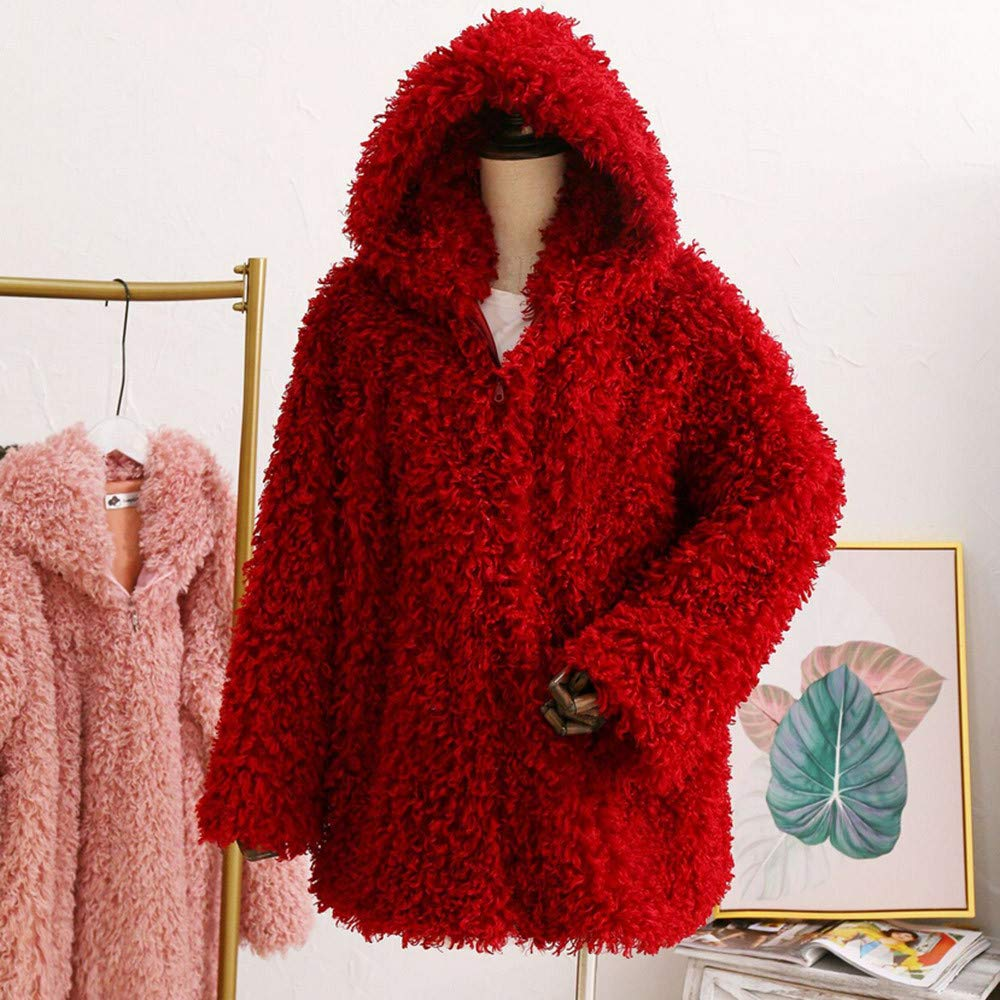 Clearance Sale FEDULK Winter Warm Women Hooded Faux Fur Solid Colour Open Front Cardigan Jacket(Wine Red,US Size S = Tag M) by FEDULK (Image #3)