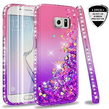 LeYi Compatible with Funda Samsung Galaxy S6 Edge Silicona Purpurina Carcasa con [2-Unidades] 3D Curvo Pet Pantalla,Transparente Cristal Bumper ...