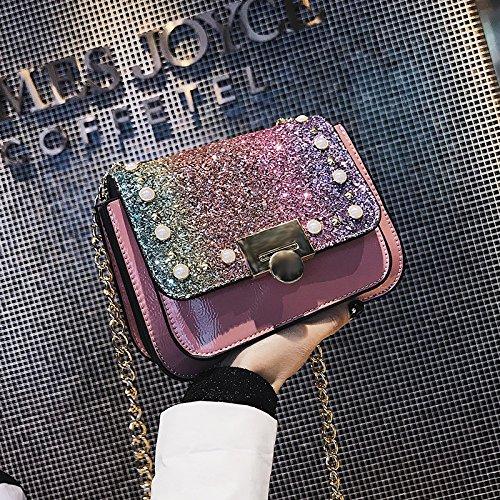 GUNAINDMX Bolso de hombro Bolso de mensajero Bolsas de tela Bolso de mensajero Bolso de cadena de niña salvaje Diagonal Bolsas de hombro,Rosa Pink