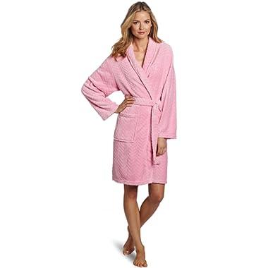 Seven Apparel Hotel Spa Collection Herringbone Textured Plush Robe, Bright Pink - 00179