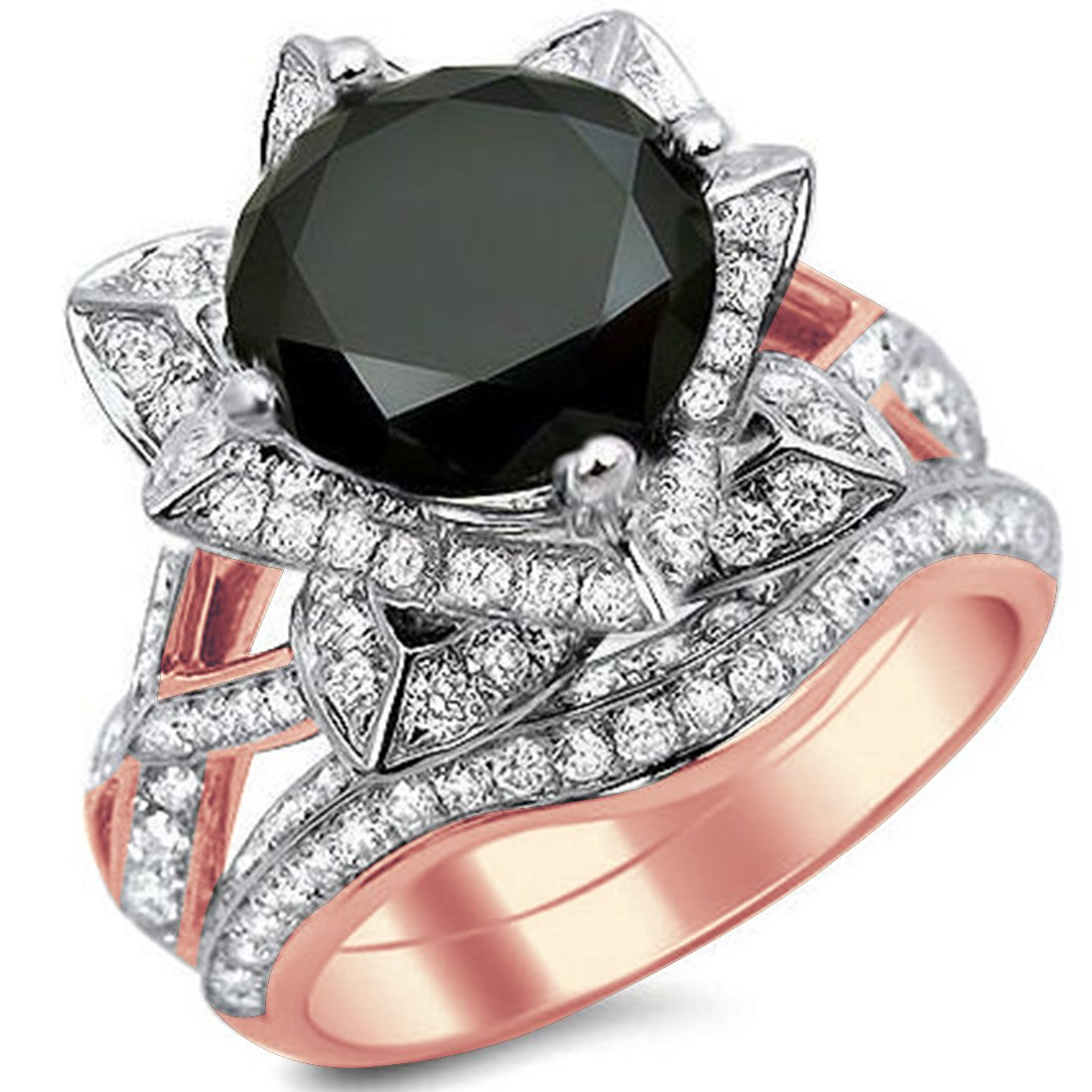 Smjewels 3.60 Ct Black Round Sim.Diamond Lotus Flower Engagement Ring Set In 14K Rose Gold Fn
