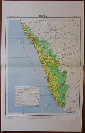 Amazon com: Kerala c 1980 huge National Atlas of India map