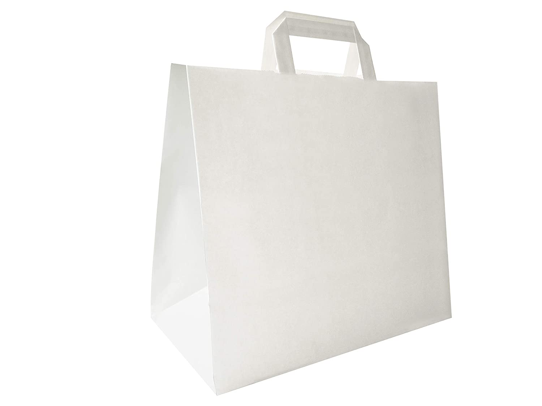 color Bianco Carte Dozio maniglia piatta Shopper in Kraft con fondo quadro f.to cm 32+17x29 cf 25 pz