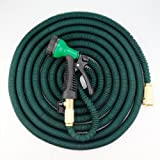 Expandable Garden Hose (100ft, Dark Green) – Strongest with TRIPLE LAYER Latex Core, Solid Brass Connectors and Extra Strength Fabric in attractive Dark Green color, with FREE 8-pattern Spray Nozzle