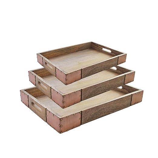 American Atelier Bandeja de servir de madera - grande rústico ...