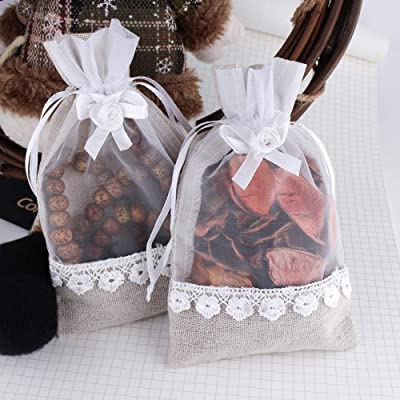 20pcs Drawstring Organza Bags Jewelry Pouches Wedding Party Gift Bag Rose