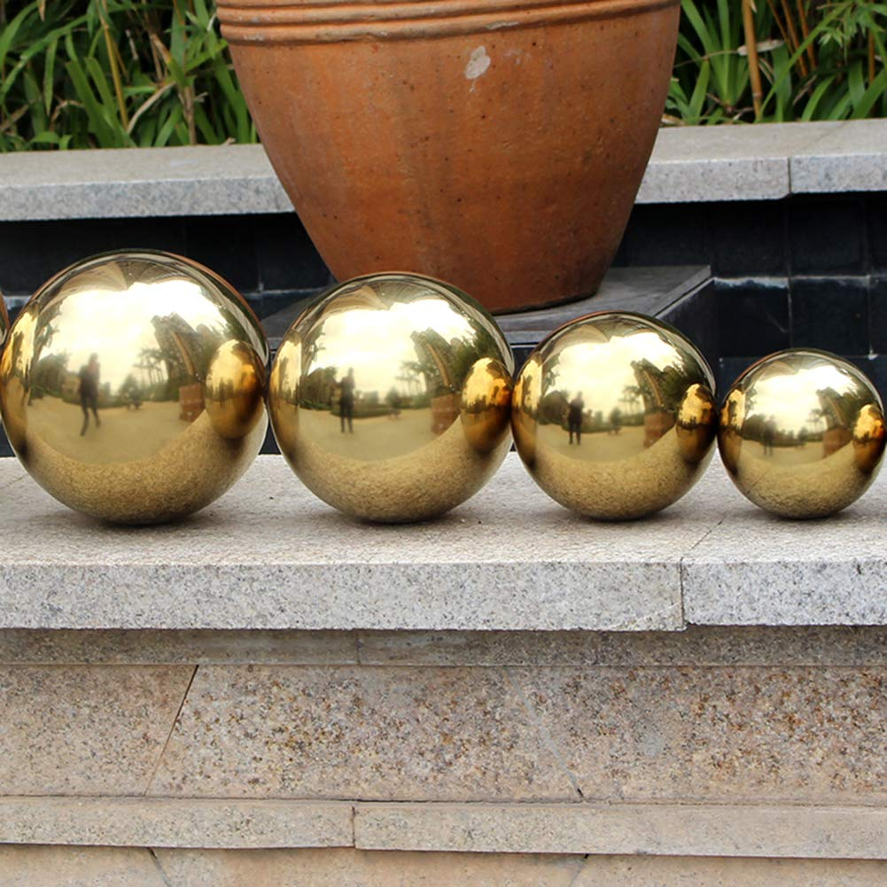 Yunhigh Gazing Ball for Garden, 13.78 inch Gazing Ball Globe Mirror Ball Decorative Metal Golden Ball Stainless Steel for Home Garden by Yunhigh