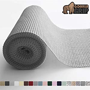 Gorilla Grip Original Drawer and Shelf Liner, Non Adhesive Roll, 17.5 Inch x 10 FT, Durable and Strong, Grip Liners for Drawers, Shelves, Cabinets, Storage, Kitchen and Desks, Light Gray
