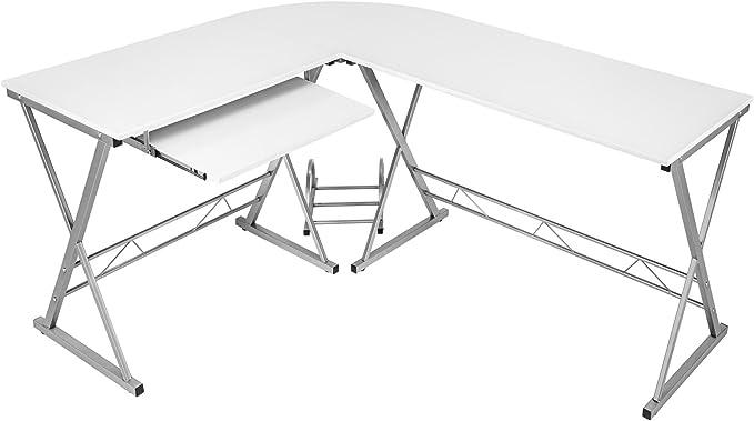 TecTake Mesa de Ordenador con Bandeja para Teclado y PC | Medidas ...