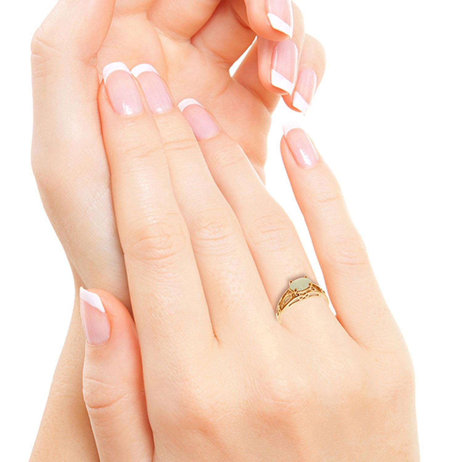 ALARRI 14K Solid Rose Gold Filigree Ring w/ Natural Opal With Ring Size 10 by ALARRI (Image #5)