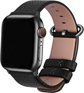 Fullmosa Compatible Apple Watch Band 42mm 44mm 40mm 38mm Leather Compatible iWatch Band/Strap Compatible Apple Watch SE & Series 6 5 4 3 2 1, 42mm 44mm Black + Gunmetal Buckle