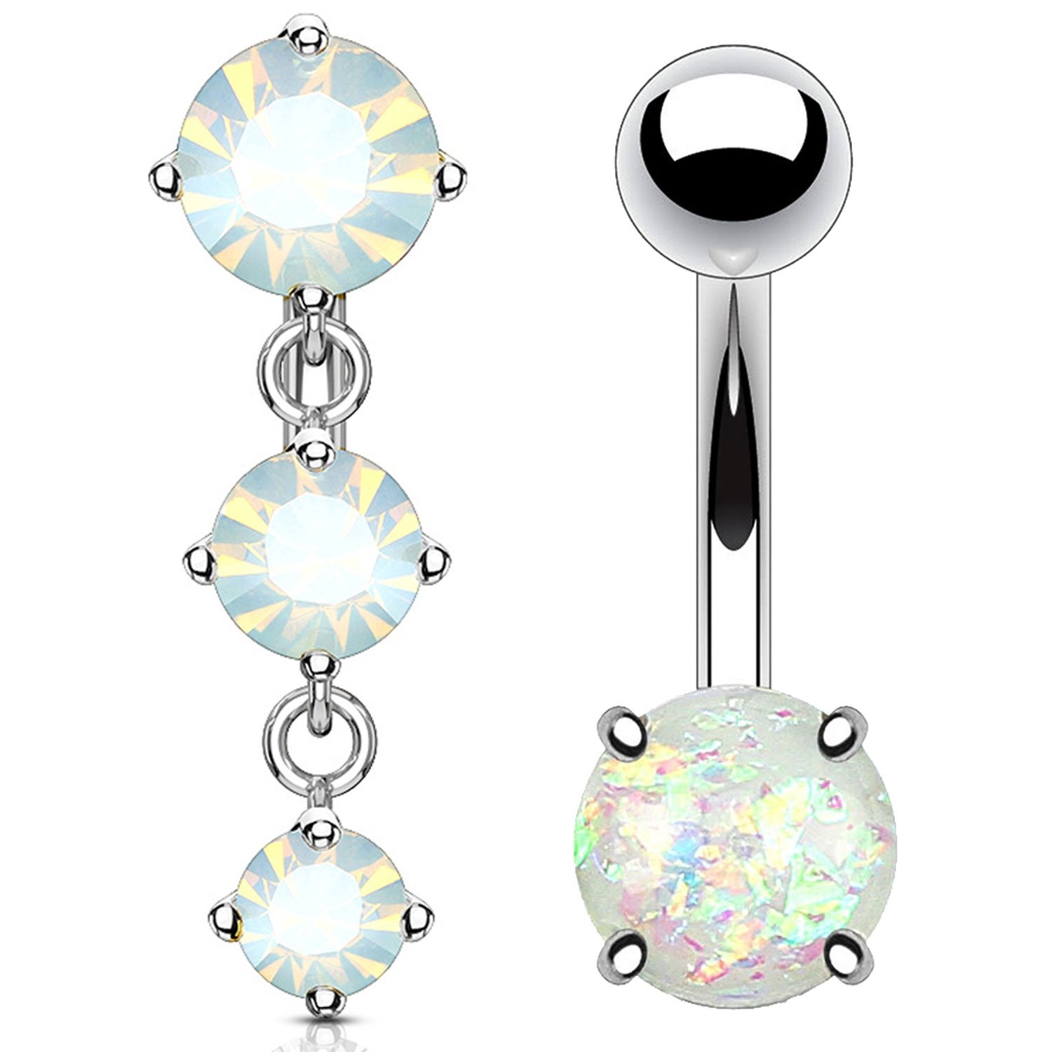 BodyJ4You 2PC Reverse Belly Button Ring Created-Opal Dangle Navel 14G Surgical Steel Curved Barbell 1.6mm