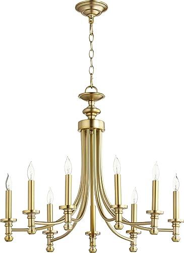 Quorum 6022-9-80 Nine Light Chandelier, Brass-Antique
