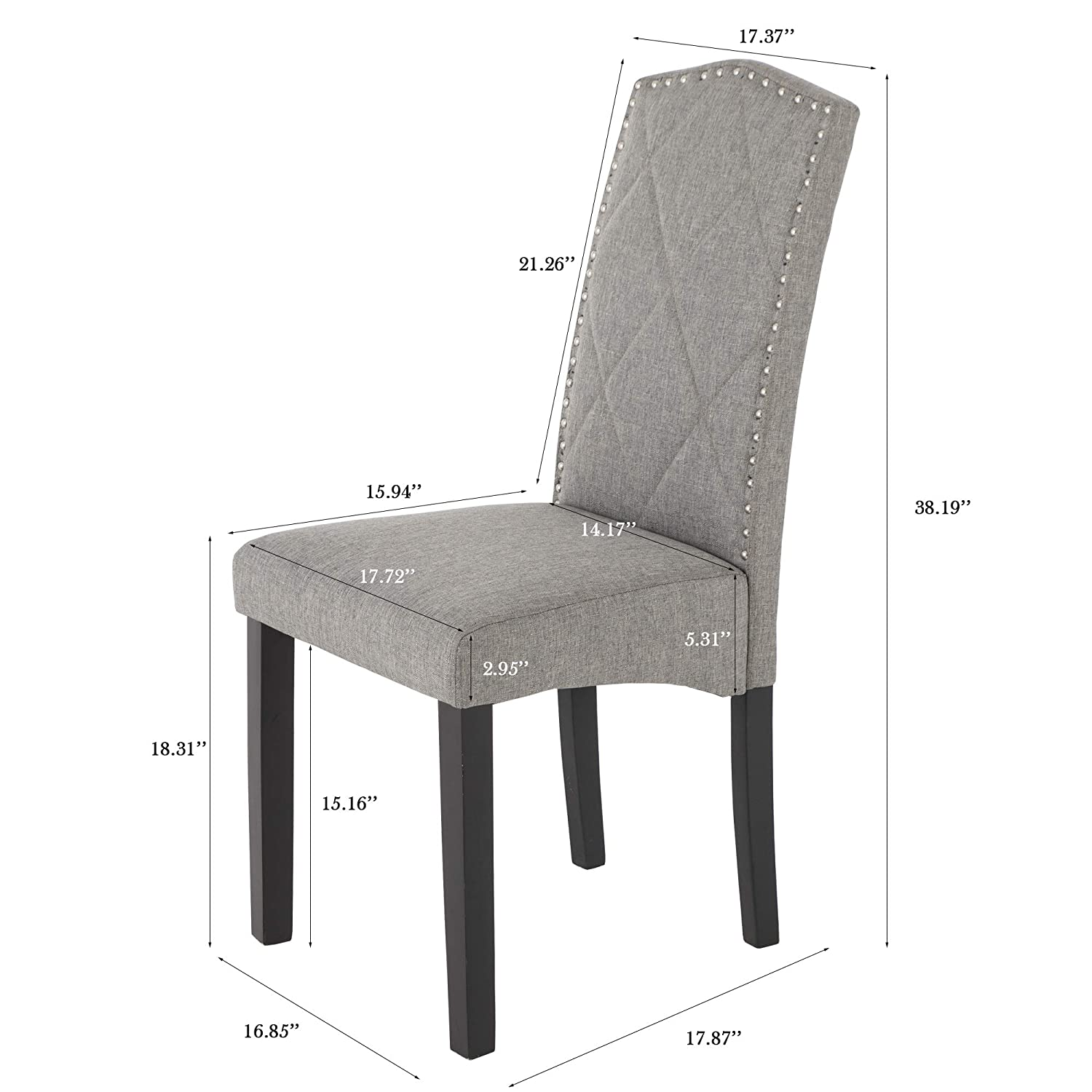 Mid-Century Modern Style Dining Chairs Set of 2,Gray Fabric and Comfortable Chairs, Sturdy Wood Chair.