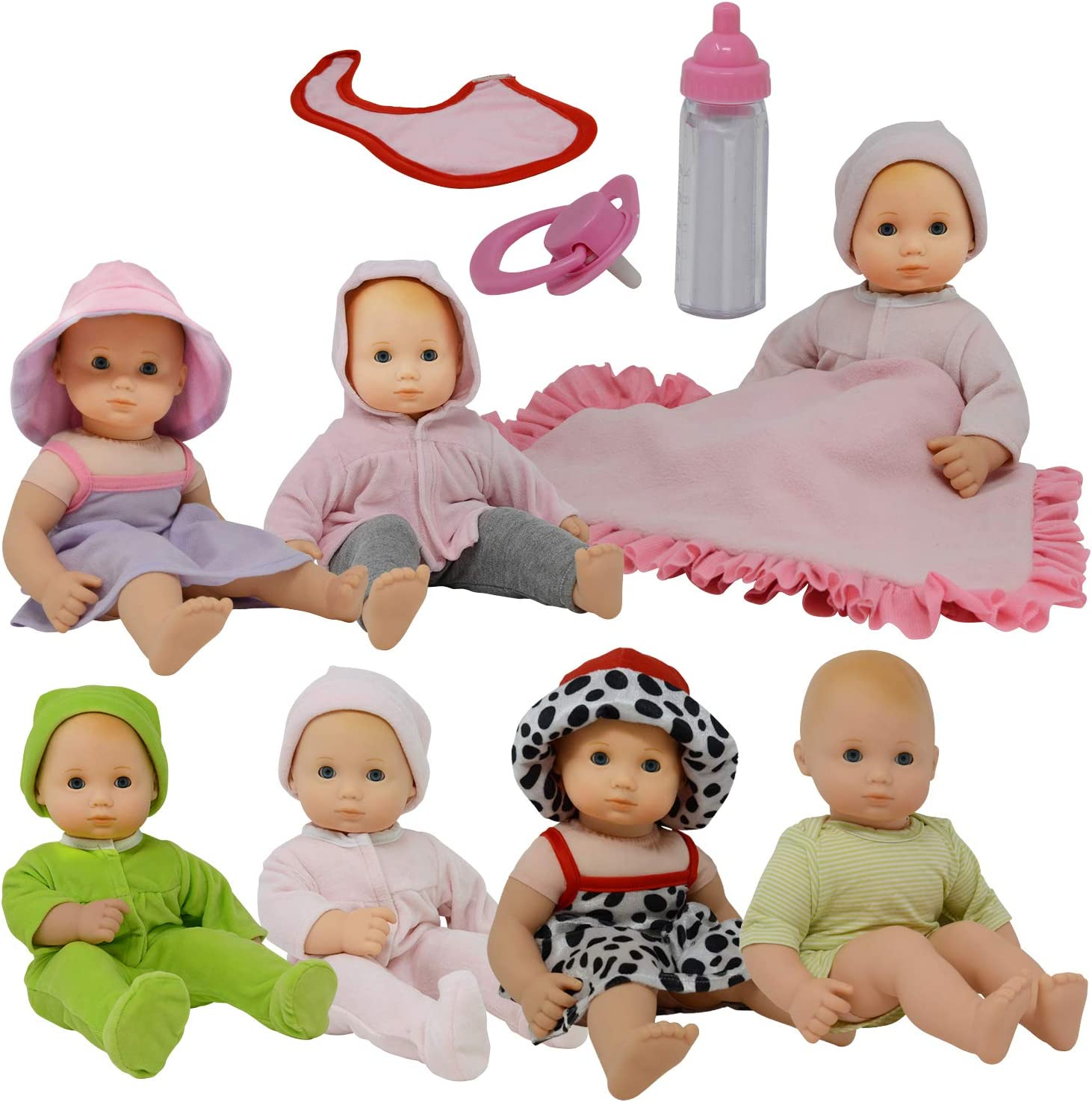 Amazon.com: Baby Doll Clothes New Born Baby Doll Outfits for 14 15 and 16 inch  Dolls Includes Doll Accessories Bottle, Pacifier, Blanket and Sets of  Clothing: Toys & Games
