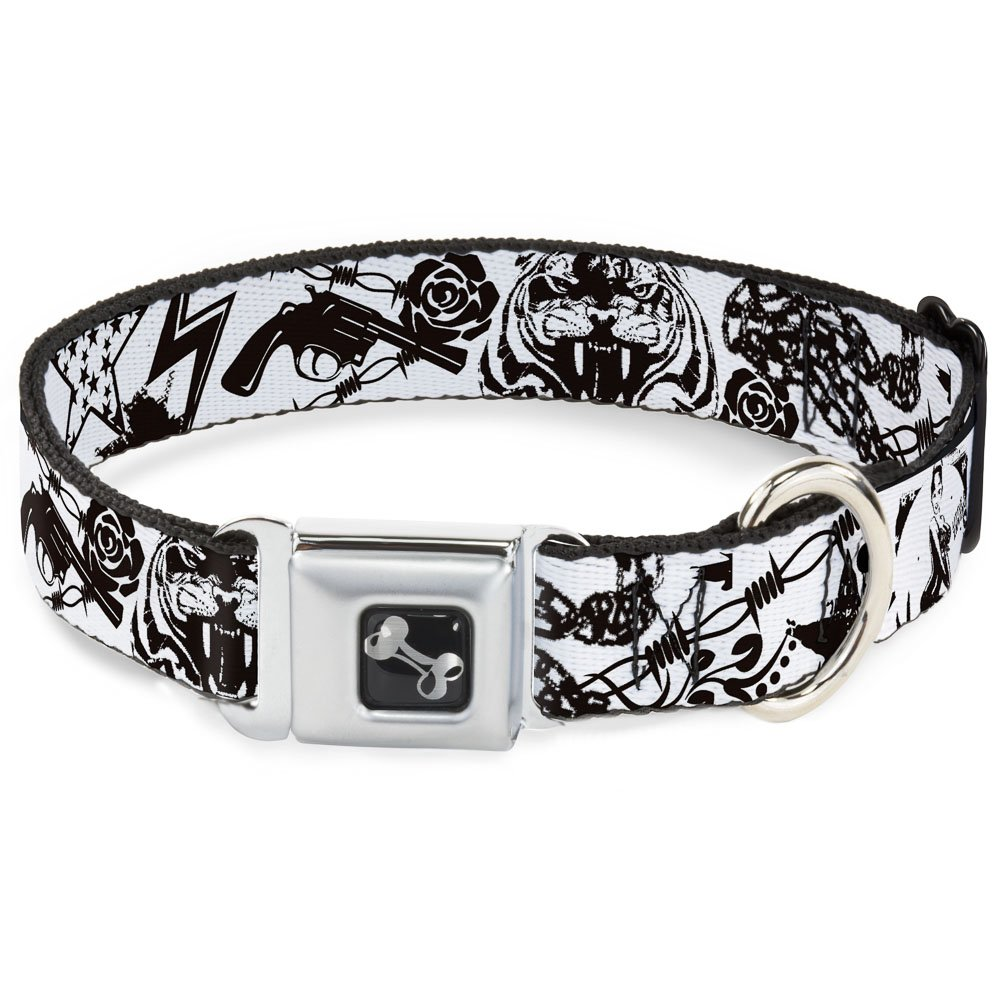 Buckle-Down Seatbelt Buckle Dog Collar Madness White Black 1.5  Wide Fits 16-23  Neck Medium