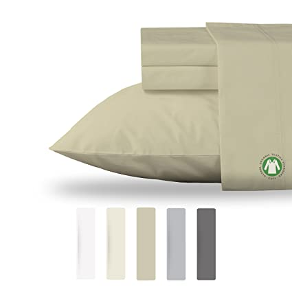 NEW 100% Organic Cotton Sheets Set GOTS Certified Hypoallergenic Bedding  Cool Soft Percale 300 Thread