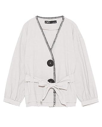 842eb92e Zara Women Jacket with Contrast Topstitching 0068/021 (X-Small) Beige