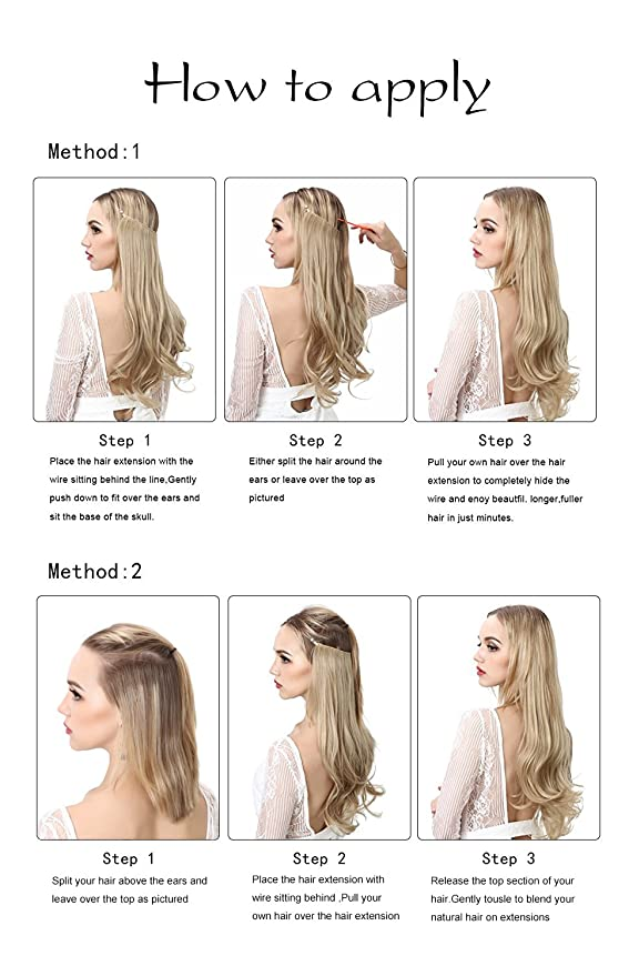 3dda6a2201c Buy SARLA Halo Synthetic Hair Extension Flip In Hairpieces Curly Wavy  Hidden Halo Hair Extensions M01 ( M6PH613) Online at Low Prices in India -  Amazon.in