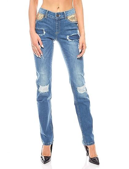 Melrose Hose Stretchjeans Damen Pailletten Jeans Slim Fit Blau  Amazon.de   Bekleidung eeb8a3b1ac