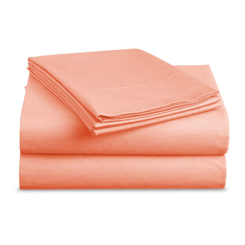Luxe Bedding Sets - Microfiber Full Sheet Set 4 Piece Bed Sheets, Pillow Cases, Flat Sheet, Deep Pocket Fitted Sheet Set Full Size - Peach