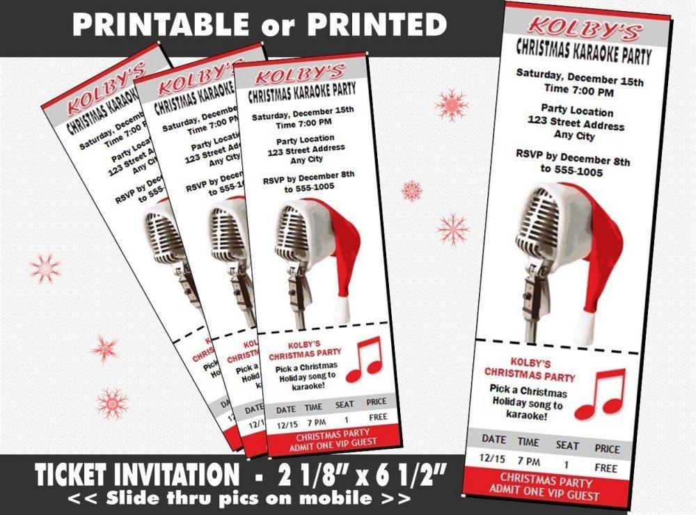 Amazon Com Christmas Karaoke Party Ticket Invitation