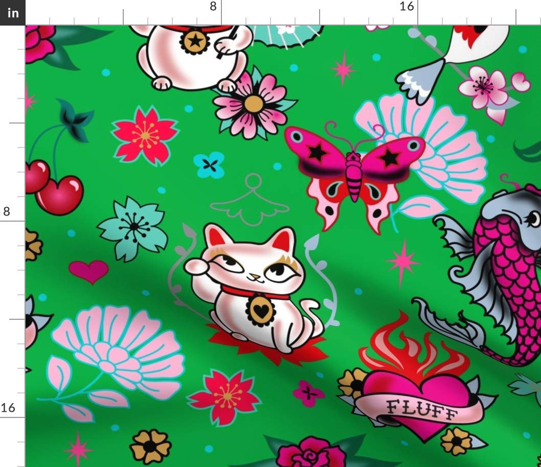 Eco Canvas Fabric Yard Eco Canvas Fabric Yard Cats Fabric Cats Green Cats Lucky Cat Maneki Neko Japanese Asian Inspired Cute Cats by Miss Fluff Printed on Eco Canvas Fabric by The Yard