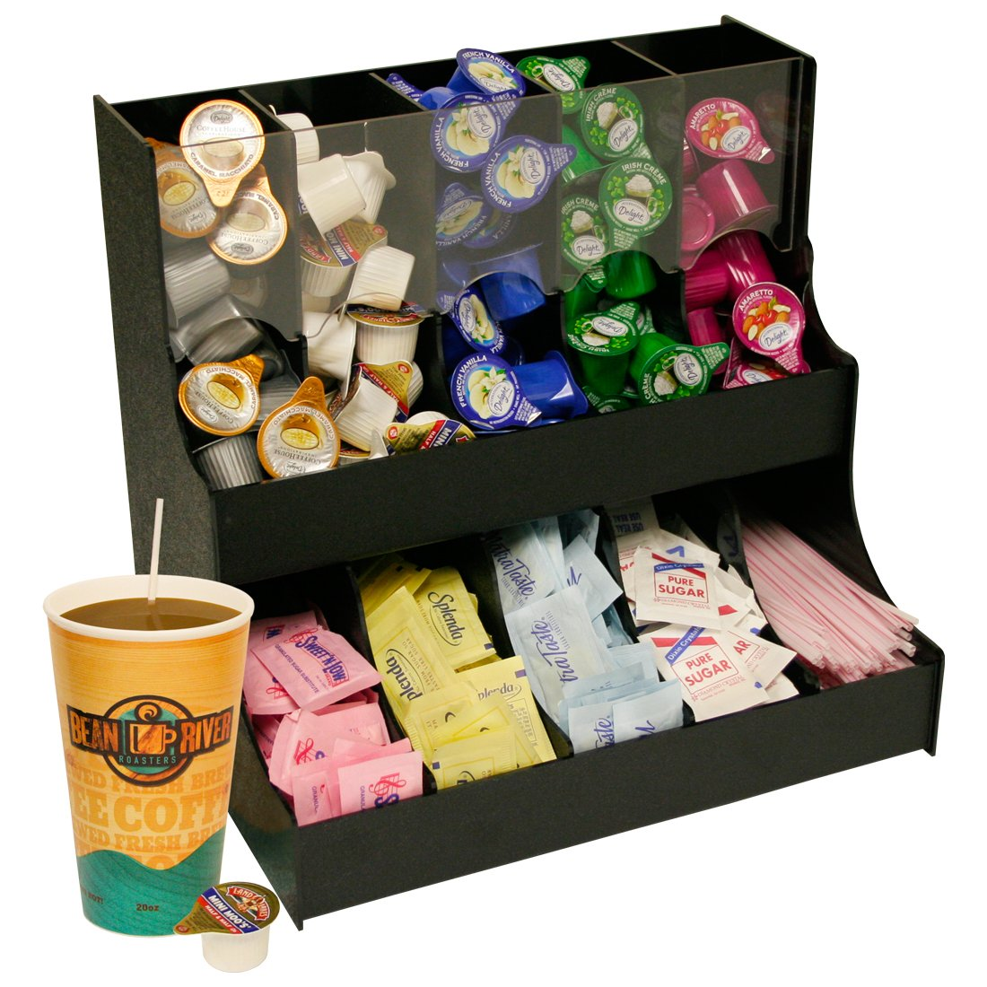 Condiment Organizer 12 1/2'' Wide x 12'' High with 5 Gravity Compartments & 5 Condiment Compartments. Proudly Made in the USA! and Made by PPM.